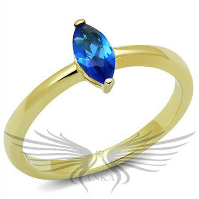 Brilliant 2.4ct Marquise Cut Blue Stone Gold Ion Plated Engagement Ring TK2976