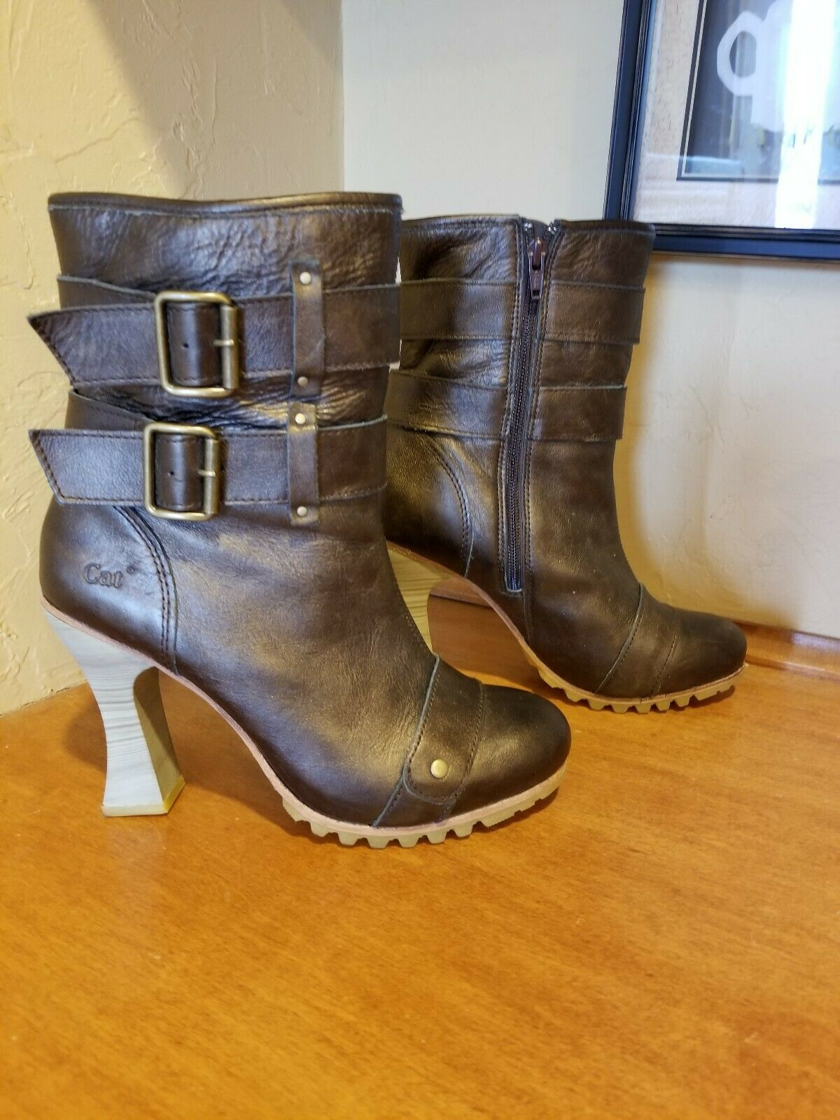 CAT Leather Metallic Boots Size 8