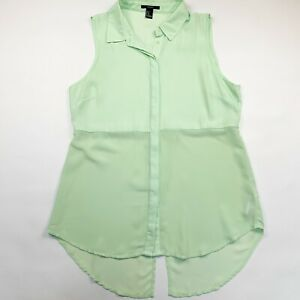 Forever 21 Woman's Sleeveless Collared Button Up Semi Sheer Blouse Mint Grn Sz M