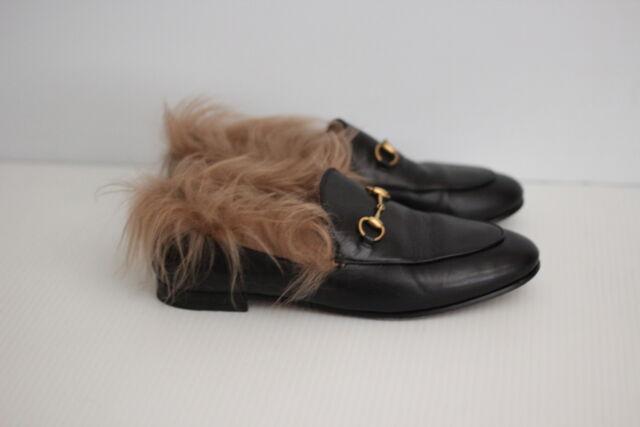 f85de209890 Gucci Womens Jordaan Genuine Shearling Lining Loafer - Black - 10US   40  (A59)