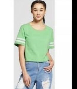 38581430 Image is loading Mossimo-Womens-Athletic-Striped-Short-Sleeve-Shirt-Large-