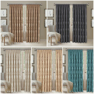 Jacquard-Ready-Made-Lined-Pencil-Pleat-Long-Wide-Curtains-Pair-With-Tie-Backs