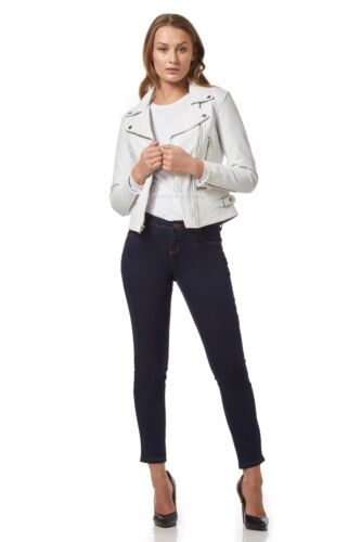 ASHES Ladies Real Lambskin Leather Jacket White Biker Short Slim Fit Style 2100