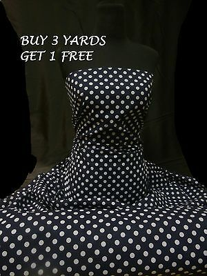 Cotton Print Navy Blue Pea/Small Size White Polka Dot Spots Dress Craft Fabric