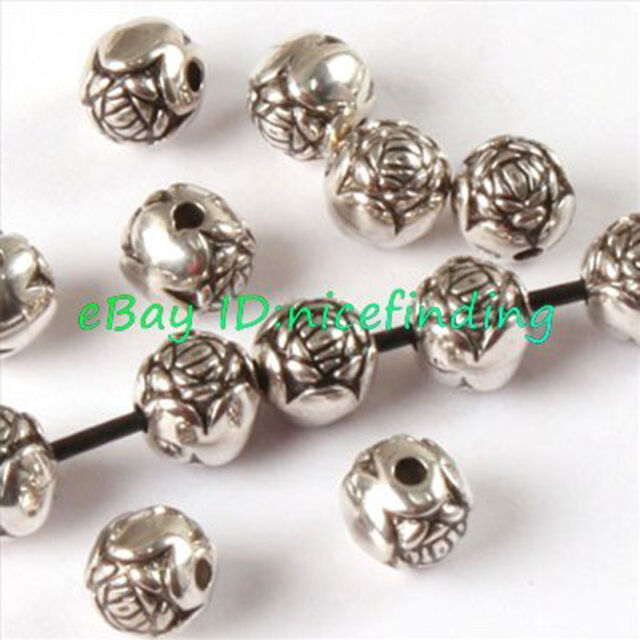 a1035 100pcs Antique Silver Plated Plastic Flower Beads Spacers 6x6mm