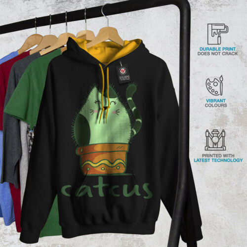 Black Hoodie Cactus dorada capucha Contrast Men New Cat qUXptt