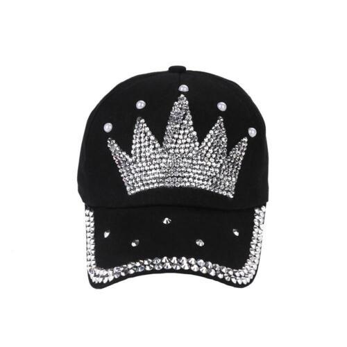 NEW Fashion Crown Love Rhinestone Diamond Child Hat Ladies Baseball Cap 5-Color