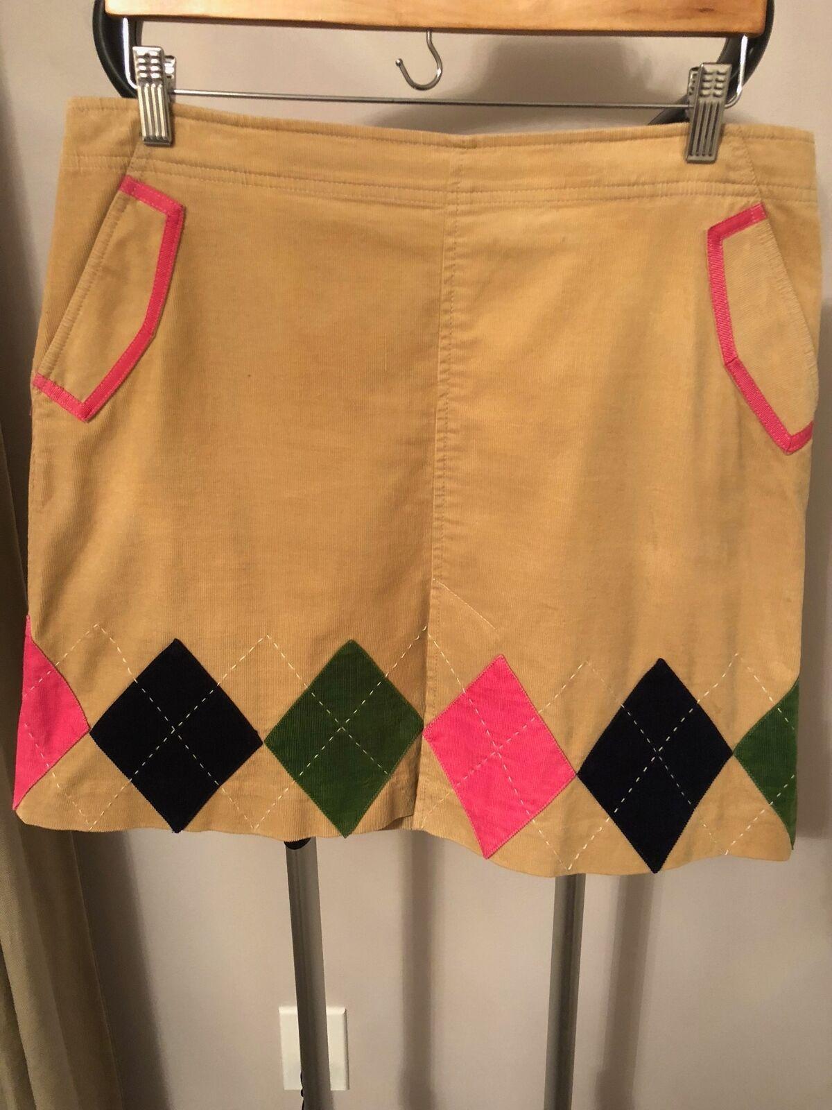 NWOT Lilly Pulitzer Tan Corduroy A-line Diamond Applique Skirt SZ 10
