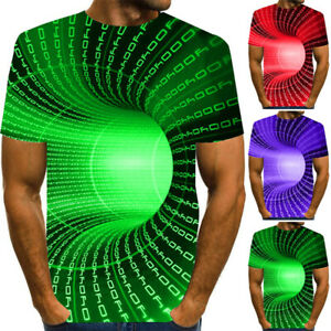 Mens 3D Geometric Print T-Shirt Casual Short Sleeve Round Neck Funny Tee Tops