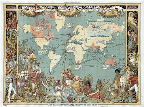 Vintage Old 1886 British Empire Map Of The World Art Poster 32x24Inch 001