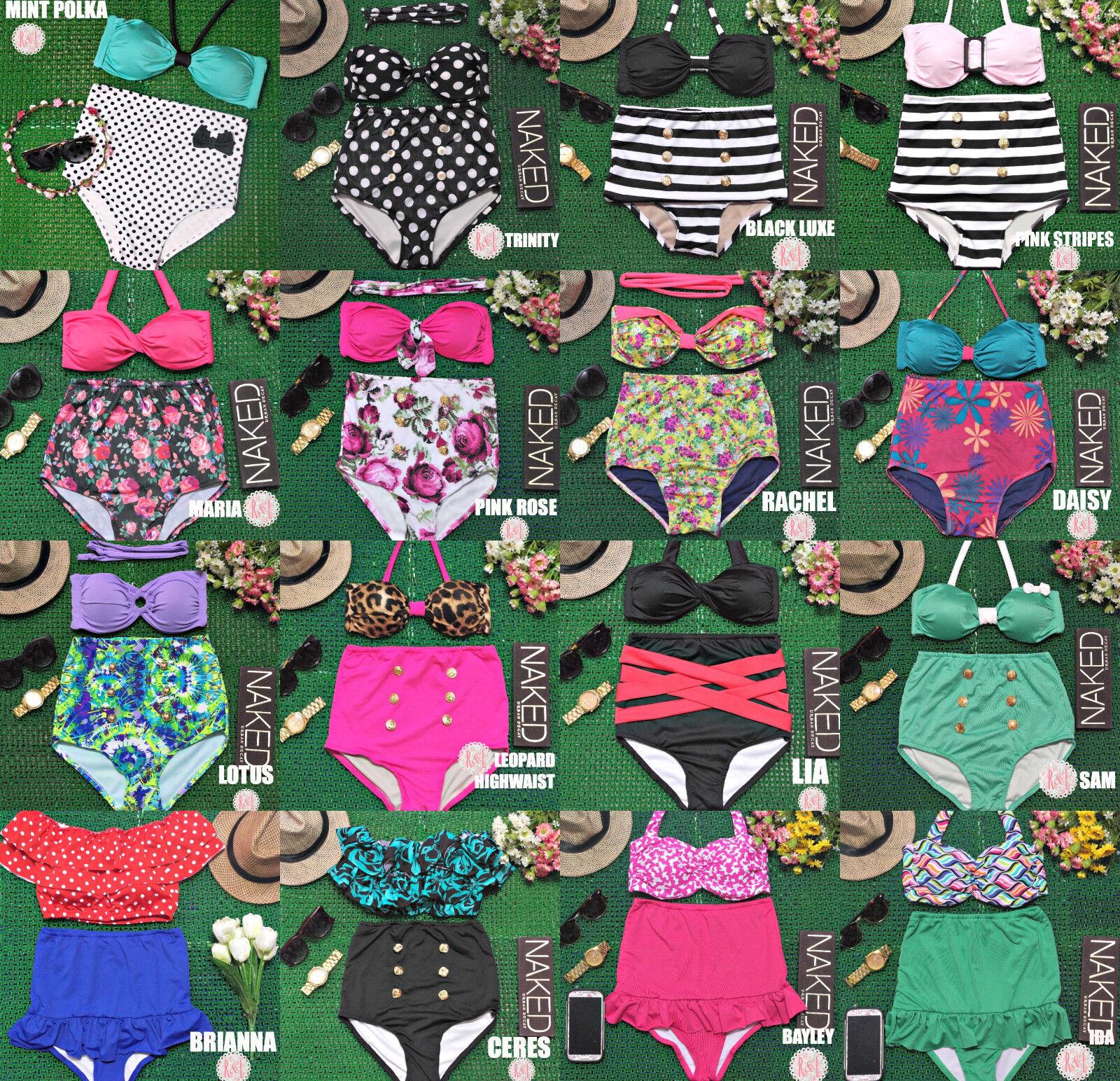 Vintage Retro Pin Up Leopard Stripes Dot Bow High Waist Bikini Swimwear Swimsuit
