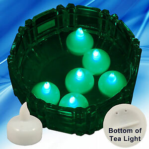 Details About 36 Flameless Floating Led Tealight Candle Battery Operated Green Tea Lights