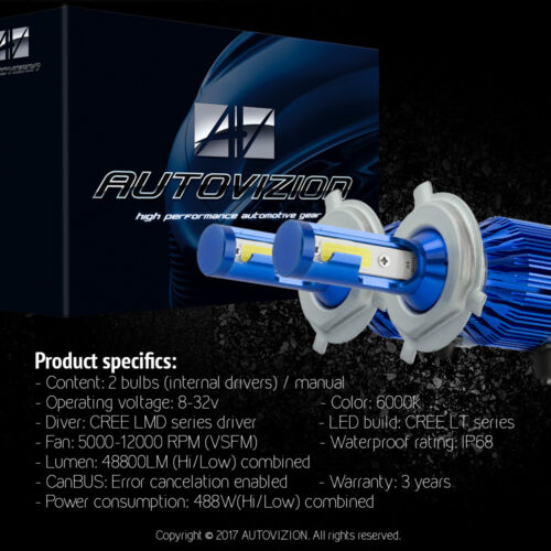 AUTOVIZION LED Headlight Conversion kit H4 9003 6000K 1999-2001 Toyota Solara