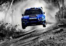 SUBARU IMPREZA WRC RALLY WRX POSTER PRINT ART  - BLUE