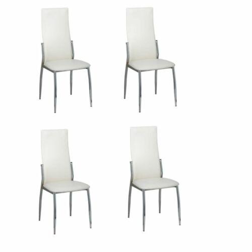 4er Set Esszimmer Stühle weiß Chrom /& Kunstleder K5C7