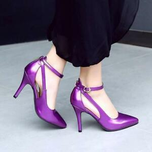 Womens-Ankle-Strap-Elegant-Pumps-Pointy-Toe-High-Stiletto-Heels-Shoes-Plus-Sz