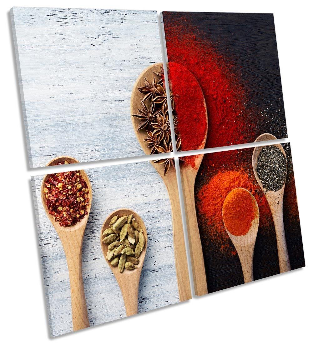 Nero Bianco Spezie Cucina foto art. a muro Multi quadrato
