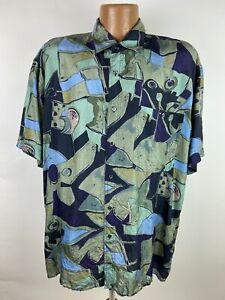 Vintage-90s-Natural-Issue-by-Feldini-Silk-Shirt-Men-s-Large-Geometric-Abstract