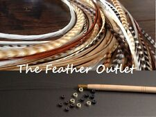 Feather Hair Extensions Kit, lot of 10, Browns long Natural real grizzly NB KIT
