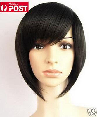Women Bob Fashion Black Girl Bangs Lady Cosplay Hair Full Wig Straight Short