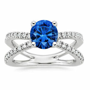 1-74-Ct-Natural-Diamond-Real-Blue-Sapphire-Ring-White-Gold-Finish-Size-H-N-M-766
