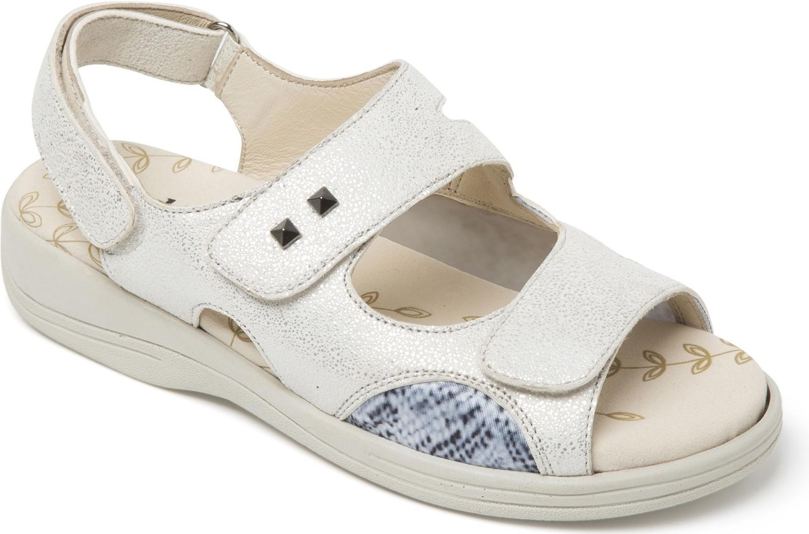Padders Ladies Leather Extra Wide 3E 4E Fasteners Sandals White GEMSTONE