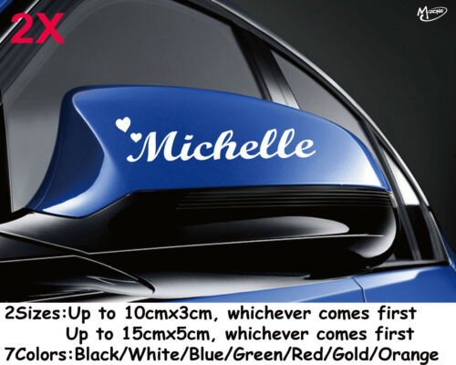 2x Custom Car Mirror Stickers Reflective Personalized Name+2hearts Stickers Gift