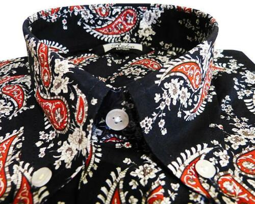 Shirt Blu Navy Scuro Nero Rosso Paisley Men's button down a maniche lunghe cotone Relco
