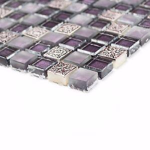 Das Bild Wird Geladen Mosaik Mix Aus Glas Resin Stein Lila Mix