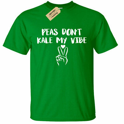 Womens Peas Don/'t Kale My Vibe T-Shirt Vegan Vegetarian Health ladies top gift