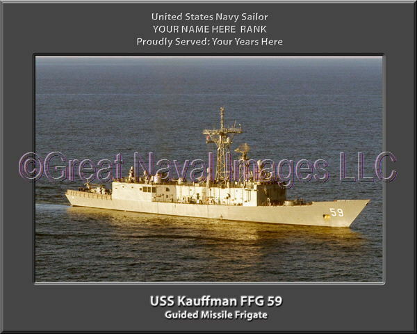 USS Kauffman FFG 59 Personalized Canvas Ship Photo Print Navy Veteran Gift