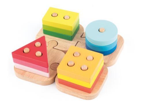 KLEINKINDER HOLZ STECKPUZZLE Holzspielzeug Sortierspielzeug Holzpuzzle # 91840 Steckspiele Motorikspielzeug