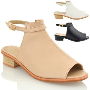 5668d7daffd01 Womens Low Heel Sandals Ankle Strap Cut Out Ladies Block Flat Peep ...