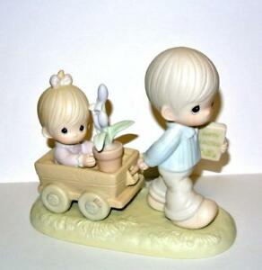 Precious-Moments-Enesco-Easter-039-s-on-Its-Way-Boy-Pulling-Wagon-521892-in-box