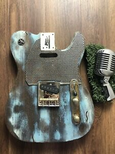 Pistols-Crown-Guitars-Barncaster-Telecaster-Relic-BODY-ONLY-Blue-Black-And-Weird