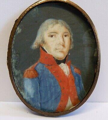 Portrait Miniatur Offizier In Uniform Um 1790