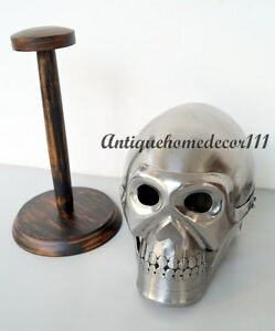 Medieval-Greek-Skull-Skeleton-Helmet-Chrome-With-Wooden-Stand-Christmas-Gift
