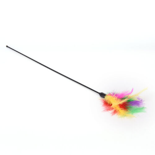 P/&T Pet cat toy cute bird feather teaser wand plastic toy with bell for ca LD