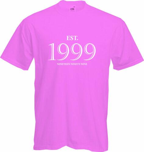 NEW 2020 Gift Fun Present 21st BIRTHDAY Established 1999- T Shirt EST