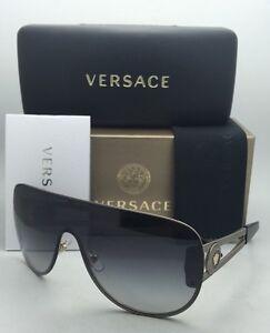 3d368ffd4f4b New VERSACE Sunglasses VE 2166 1252 8G 140 Gold   Black Shield Frame ...