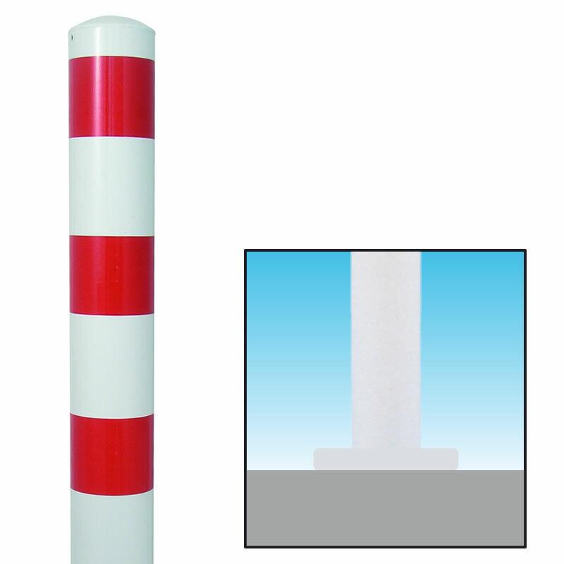 Absperrpfosten Rot Weiß Ø152mm zum Aufschrauben, 101894