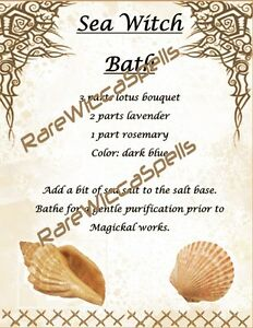 Details about Magick Recipes for Sea Witch Bath for Wicca Spell Book of  Shadows 1pg parc