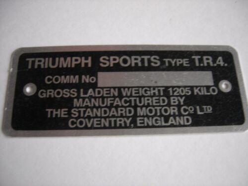 TRIUMPH TR4 CAR COMMISSION NUMBER PLATE MADE IN THE UK