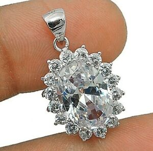 White Sapphire 925 Solid Sterling Silver Pendant Jewelry, WO2