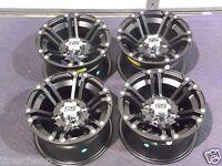 12 Honda Big Red Muv Aluminum Atv Wheels Set 4 Lifetime Warranty Ss212 Blk