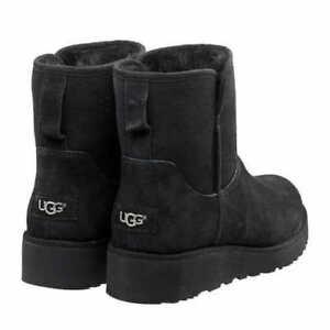 UGG Australia Kristin Suede Sheepskin BOOTS 8 Med 1012497 Black Boot Wedge