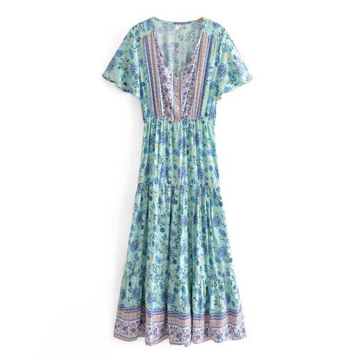Vintage Chic Green Pink Floral Short Sleeve Boho Maxi Deep V Neck Hippie Dress