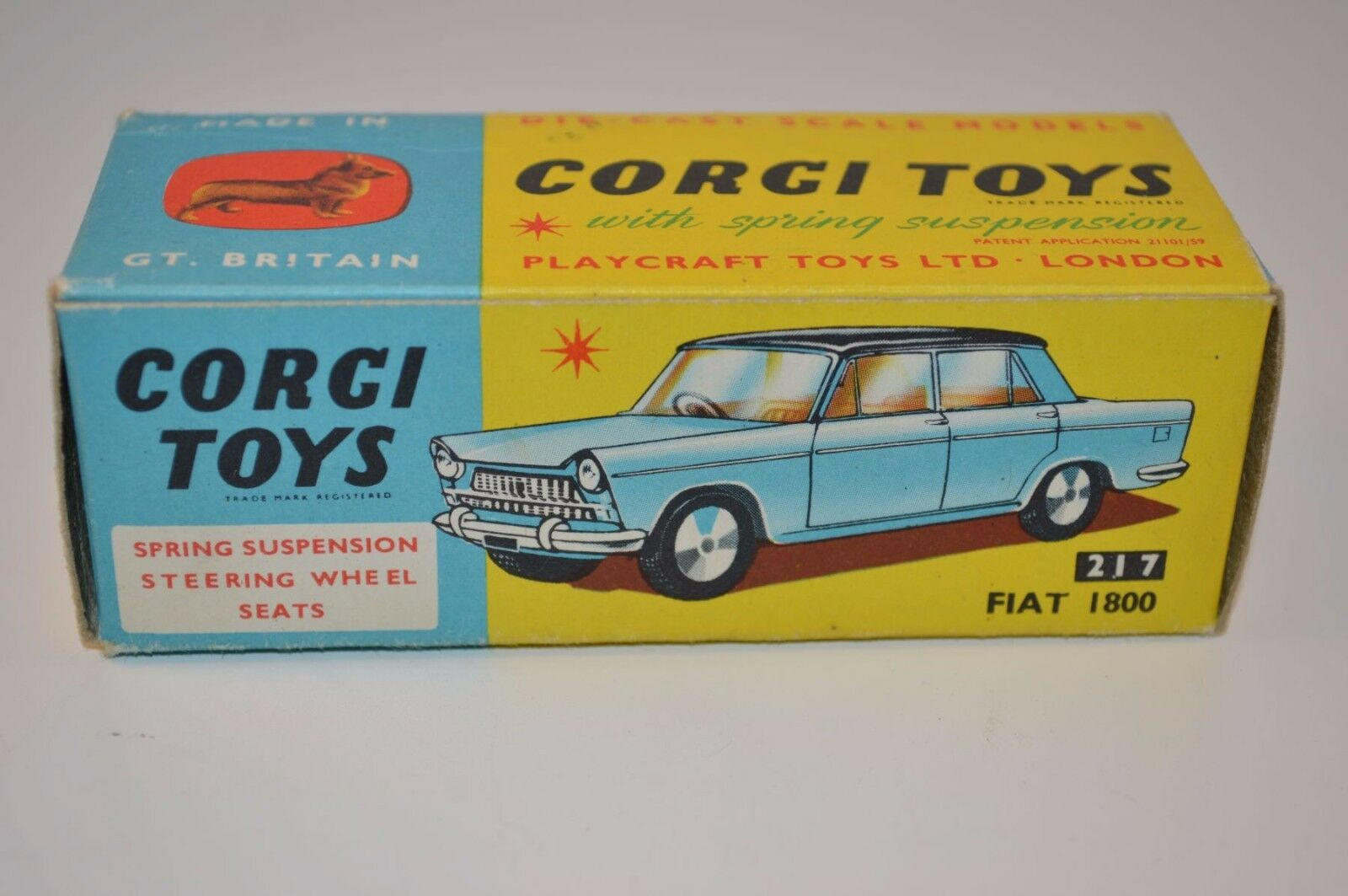 Corgi Toys 217 Fiat 1800 empty near mint complete original box