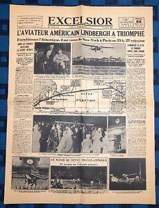 La-Une-Du-Journal-Excelsior-Dimanche-22-Mai-1927-Lindberg-A-Triomphe
