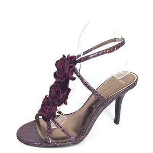 683e68180b86 Aerin Collonade Womens Size 7 M Burgundy Leather Heel Strappy Dress ...